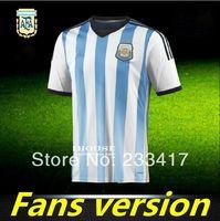 A+++ World Cup 2014 Argentina Meninos Home Futebol Soccer Thailand Quality Top Kit Mens Football Uniform Camiseta Top Men