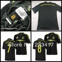 2014 WC Top Thailand Quality Spain Espana Player Version Away Black Diego Costa Tiago Negredo Football Soccer Jerseys Uniform