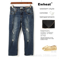 Free Shipping! Summer wear cowboy korea edition of tight thin edge foot trousers women Seven holes female  jeans