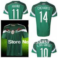 A+++ Brasil Internacional Football World CUP 2014 Mexican National Team 13 14 MEX MEXICO Soccer Uniform Meninos Camiseta Jersey