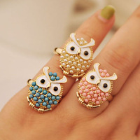 Minimal mix styles $5 Unique Cute Small Beads resizable Owl Rings B2R2C  Free Shipping