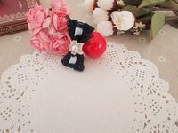 Handmade winter yarn ribbon side-knotted clip flower bead hairpin