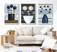 Frameless, Print on canvas,  Flower Pot YSM397, 3pieces/ set, modern wall art,flower oil painitng, free shipping via china post
