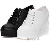 Black White New 2014 Free Shipping Hidden Wedge 10CM Heels Fashion Casual Women's Elevator Shoes Sneakers Sports Shoes For Women