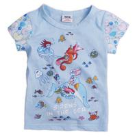 New 2015 Retail 100% cotton girl T-shirt Summer baby kitten cute cartoon printed Strathmore free shipping