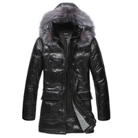 2014 new winter male removable cap silver fox fur collar Genuine leather clothing slim long design sheepskin down coat  Y2P0 TP3