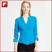 Lake Blue Color Ultra Slim V collar Women Chiffon blouse 2014 Fashion Woman Blouse