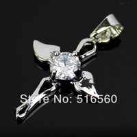 Free Shipping Cross Shap 10K White Gold Plated Necklaces Pendant 2014 Women Crystal Trendy Fashion Jewellery  321p11