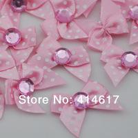 40pcs Pink satin ribbon bow print dot appliques sewing DIY kid's doll A148-5