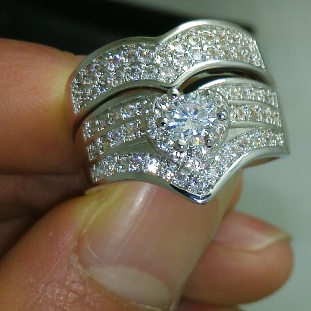 Victoria Wieck Luxury 10kt Gold Filled White Topaz Diamonique 2 Wedding Ring Set Size 5-11 Free shipping Gift(China (Mainland))