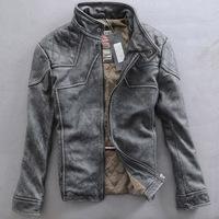 2014 new spring men slim vintage retro finishing male short design sheepskin jacket leather clothing Y2P0 TP