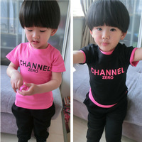 new 2014 summer children t shirts clothing wholesale boys girls short sleeve leisure cotton tops 5pcs/lot