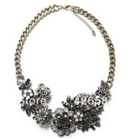 New 2014 flower Za Brand Fashion Luxury Spring Gorgeous Crystal Statement Necklaces & Pendants Choker Collar Chunky girls