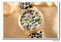 Free shipping 2014 new fashion watch Casual leopard print Ladies quartz watch women men Silicone dress watch animal print hours