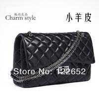 2014 female genuine leather female bags classic black plaid bag portable one shoulder chain bag free shipping