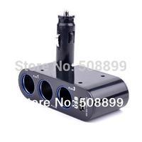 2014 New 1pcs pcs/lot Three Port Car Charger Splitter Cigarette And One USB Port Lighter Inputs Good Quality Freeshipping