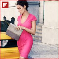 Original design Rose Red Color Sheath Knee Length V-neck Fashion Woman Dress 2014 Cute Empire Short Dress
