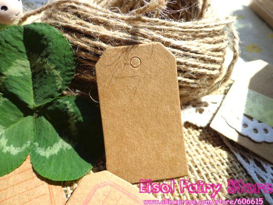 Wholesale (500Pcs) 3x5cm (String Included) Mini Vintage Kraft Blank Hang tag, Retro Kraft Gift tag ,Paper Labels Wedding Tags(Hong Kong)
