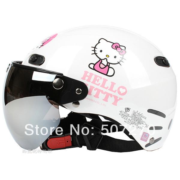 "B.104 Taiwan ""EVO "" 1/2 ABS Half Face Casco Ebike Casque Motorcycle ""Big Face Hello Kitty "" White Helmet & UV "" W "" Lens & Visor(China (Mainland))"