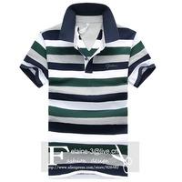 Male Striped Collar Jumper Short Sleeve T-shirt Fashion Leisure Shirt Collar Blouse Buttons