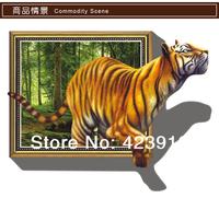3D Cartoon Tiger Windows Removable Stickers Art Decals Home Living Room Bedroom Kids Room Nursery School Decor 100cm*70cm