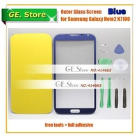 Freeshipping Blue Digitizer front Touch Outer Glass Lens Screen For Samsung Galaxy Note ii 2 N7100 Replacement+Tools+Adhesive