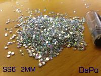 SS6 2MM 10000Pc/Lot Crystal ABFlat Back Acrylic Rhinestones For Nail Art