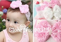 5pcs/lot HOT girls headwear Felt Flower headbands Baby Infant flower hairbands Children's pink lace hairband Toddler th03