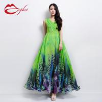 2014 summer chiffon skirt expansion skirt V-neck sleeveless chiffon     a female  full maxi print vintage pleated dress dot