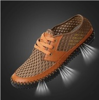 New 2014 net surface casual men shoes fashion Breathable sneakers man  Leather + net cloth