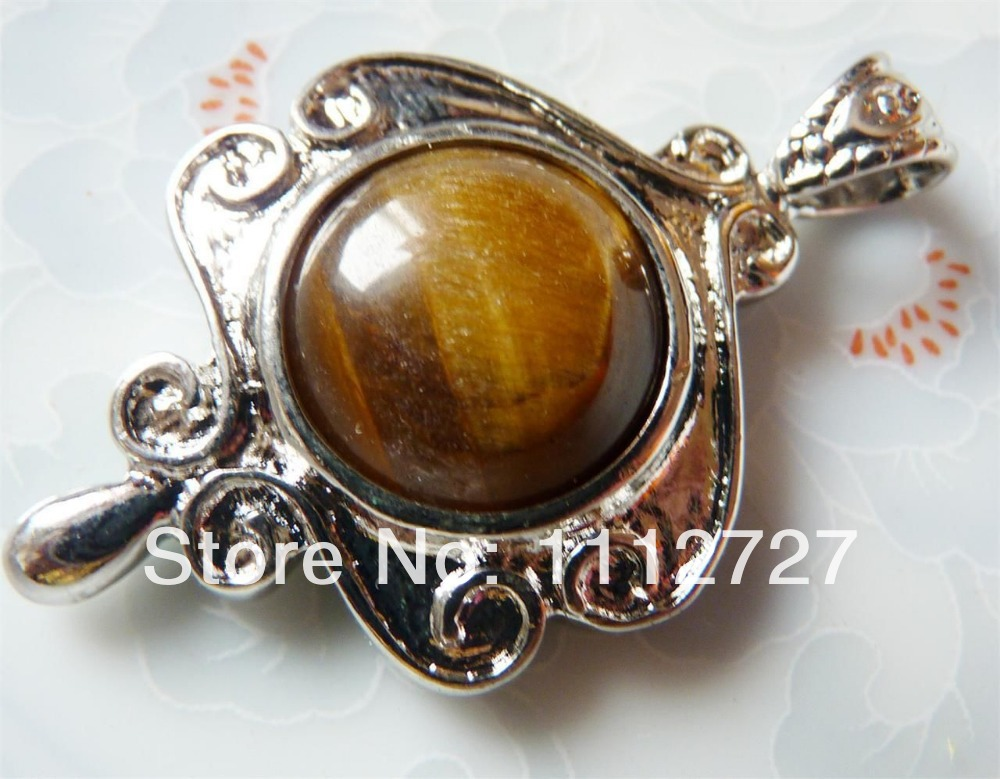 Free Shipping 2014 Natural Jewellery Beads pretty 25x35mm silver border & inlay Tiger Eye pendant Wholesale Price(China (Mainland))