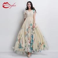 2014 women's skirt formal gentlewomen expansion skirt chiffon     female  full maxi print vintage pleated dress dot plaid