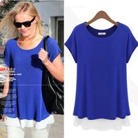 women t-shirt new 2014 t-shirts Summer Short-sleeve t shirt Women Loose Plus Size Chiffon Patchwork t shirts Female casual dress