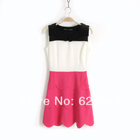 2014 new fashion sleeveless Slim flounced chiffon dress hit the color stitching