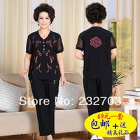 Quinquagenarian set female summer short-sleeve casual set plus size clothing 2013 female
