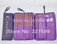 Knitting Needle Kits Carbonize Bamboo Straight Needles Ring Needle Set Circular Needlework Crochet Hooks Set Hand Tool PU bag