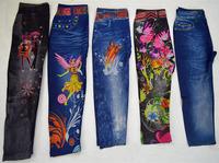 2014 spring female child trousers faux denim print elastic legging children's clothing child casual pants