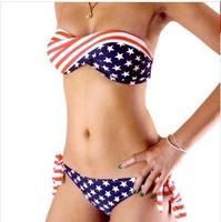 2014 New American Flag tube top bikini swimwear vintage piece swimsuit Women print bikinis set bathing suit beach bikini bottom