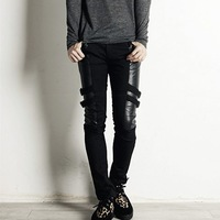 Free shipping men's fashion personality stitching jeans casual pants feet