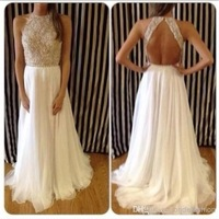 Vestidos-De Fieata A-line High Collar Sleeveless Floor Length White Chiffon Beaded Evening Dresses Prom Dresses Prom Gown