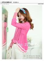 Spring Chiffon blouses -  2014 new fashion female lace knitting chiffon blouses girl dress wholesale DS008