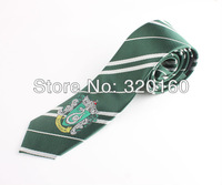 Free Shipping Amazing Green College tie Harry Potter Slytherin series tie with badge,Personality,Cosplay,props,4 kinds