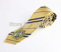 Free Shipping Amazing New College tie Harry Potter Hufflepuff series striped/badge,Personality,Cosplay,props,gift