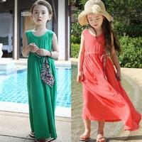 Fashion 2014 New Summer Baby Girls Dress Retro Bohemian Beach Dress Children Princess Dress Clothes