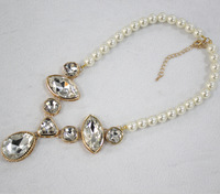 2014 hot sale! EXW Korean style elegant crystal gem necklace jewelry pearl link necklace free shipping