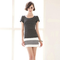 Small fresh sexy fashion black and white polka dot stripe slim hip 118917 one-piece dress