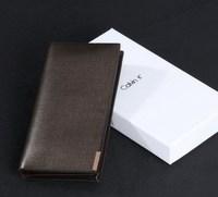 2014 New genuine leather men wallets fashion card bags brand name designer man long purse soft wallet