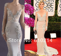 Fabulous Bateau Neck Long Sleeves Red Carpet Evening Party Gowns Mermaid Lace 2014 Golden Globe Awards Celebrity  Dresses