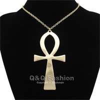 10x5cm Vintage Egyptian Life Big Ankh Cross Pendant Long Chain Sweater Necklace Jewelry Free Shipping