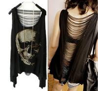2015 HOT SELL Women Casual t shirt Skull Punk Singlet Dress Vintage Tank Pop Sexy Top long Tee T-Shirt